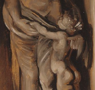 Middle section of status of Venus and Cupid